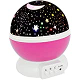Night Lights for Girls, ZHOPPY Star and Moon Starlight Projector Bedside Lamp for Baby Room Kids Bedroom Decorations - Birthd