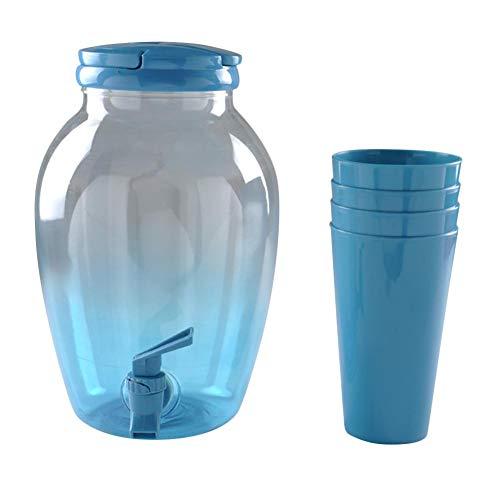 Sponsi Jarra de Agua de Jarra de plástico Transparente con Tapa y 4 Tazas, dispensador de Bebidas frías en la Botella de Jugo para té Helado, Vino, Jugo, Leche, Hielo Agua fría Cold Color Aleatorio