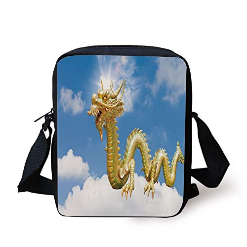 Dragon,Traditional Chinese Dragon Hovering at Cloud Sky Cultural Symbolism  Print,Gold Light Blue White Print Kids Crossbody Messenger Bag Purse