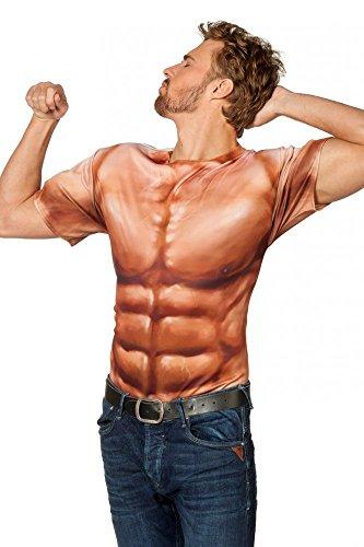 Kostüme Pumper (Fotorealistisches T-Shirt Bodybuilder Muckies Sixpack Muskelpaket Kostüm Herren,)
