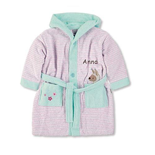 LALALO Sterntaler Lotte (Kuschelzoo) Bademantel Bestickt mit Namen für Baby & Kinder, 100% Baumwolle, Kinderbademantel personalisiert mit Name für Mädchen (Rosa), Serie 2019-98/104