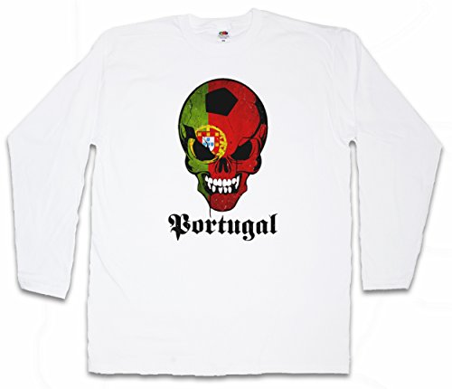 Classic FÚTBOL Football Soccer Portugal Skull Flag T-Shirt De Manga Larga Long  Sleeve Shirt 686188e88