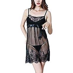 Sweet Butterfly Night wear Dress Transparent Chantilly Lace Wedding Baby Doll Sleepwear Sexy Lingeri (Black)