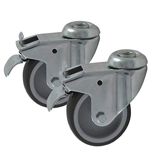 2 Stk. Apparaterollen 75 mm Ø Rad aus Gummi grau, mit Bremse Stopper Blocker, Befestigung Rückenloch, Lenkrolle Drehrolle schwenkbar (75 mm)