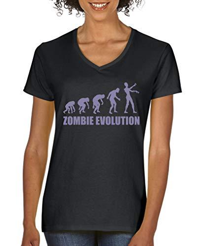 ie Evolution - Damen V-Neck T-Shirt - Schwarz/Violett Gr. M ()