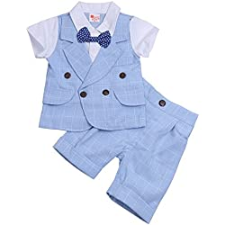 YiZYiF Traje De Ceremonia Ropa De Bautizo Niño Conjunto Dos Piezas Camiseta Pantalones Para Bebé Niño 2-5 Años Azul de Cielo 2 Años