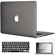 Topideal - Carcasa de goma rígida 3 en 1 para MacBook Air de 13 y 13,3 pulgadas (modelos: A1369 y A1466), mate satinado, con un suave tacto sedoso + carcasa para teclado + protector de pantalla gris EU/UK Keyboard Version