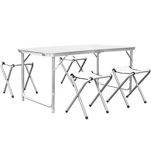 HOMFA Table de Camping Portable Table Buffet Traiteur Pliante en Hauteur Réglable Table de Pique-nique (1.2M (Avec 4 Chaises), Blanc)
