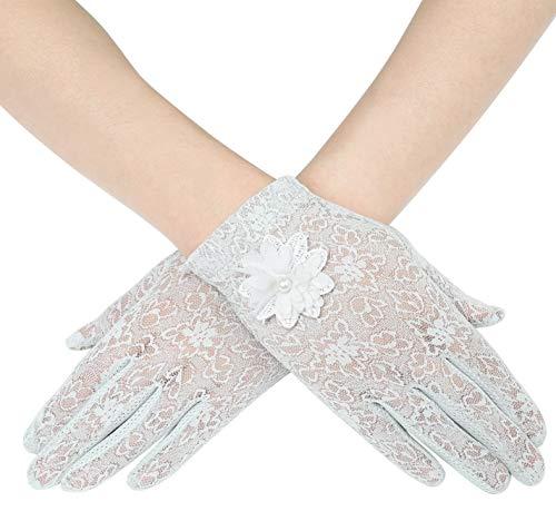 ArtiDeco Damen Lace Handschuhe Satin Braut Hochzeit Spitze Handschuhe Opera Fest Party Handschuhe 1920s Handschuhe Damen Kostüm Accessoires (Kurz Blume (Lange Satin Handschuhe)