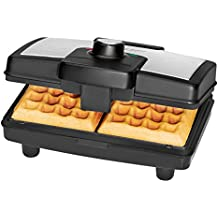 Clatronic WA 3606 - Gofrera con termostato regulable, acero inoxidable, 800 W