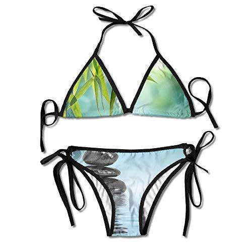Zen Stones and Bamboo Women's Tie Side Bottom Bikini Suits Two Pieces Swimwear -