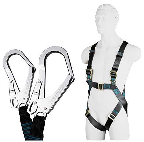 ACE Safety, set di protezione anti-caduta con imbracatura per tutto il corpo EN361, smorzatore con cordino a Y di 1,5 m EN354, EN8513, peso massimo autorizzato 100 kg, omologato CE