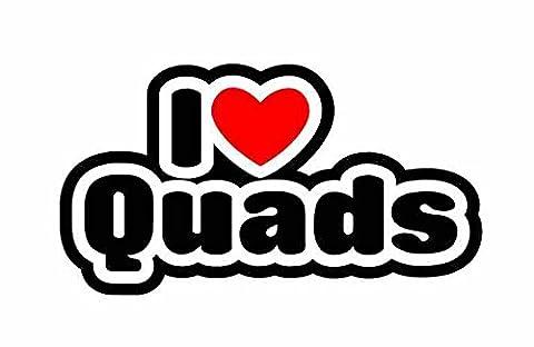 I Love Quads - Quading - Voiture Autocollant / Sticker For Car Bike Van Camper Bumper Sign Decal