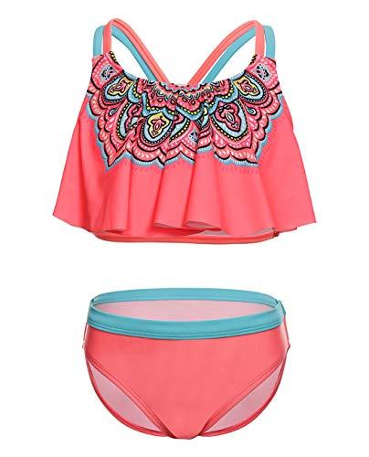 iDrawl Schwimmen Bikini Set Pink Blumen Bademode Tankini für Mädchen 10-12 Jahre Alte