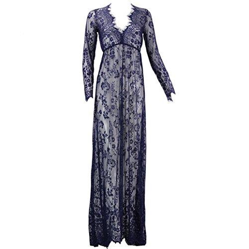Kleid, Umstandsmode aus durchsichtiger Spitze, für sexy Fotos, Gr. S-4XL Gr. S, blau (Baby Link Kostüme)