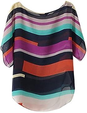 LHWY Moda 2017 Mujeres Blusas Camiseta Verano Perspectiva Casuales Sueltas De Gasa Tops