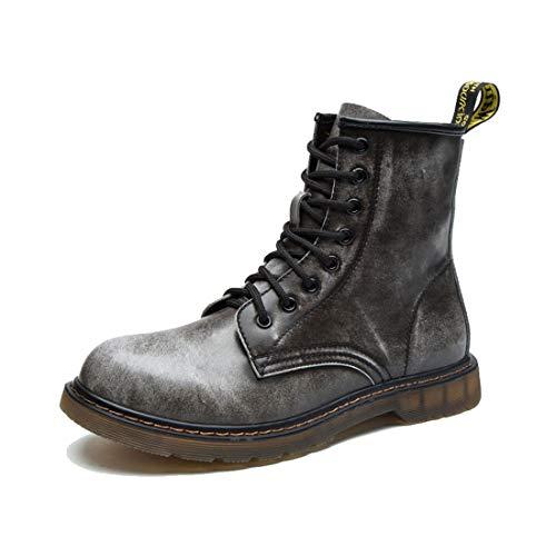 Botas De Martin para Hombre Botas De Cuero para La Piel Botas De Trabajo Retro CláSicas De Piel Forradas con Zapatos De Piel Calzado Impermeable Y Antideslizante