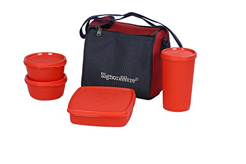Signoraware Best Lunch Box with Bag, Deep Red