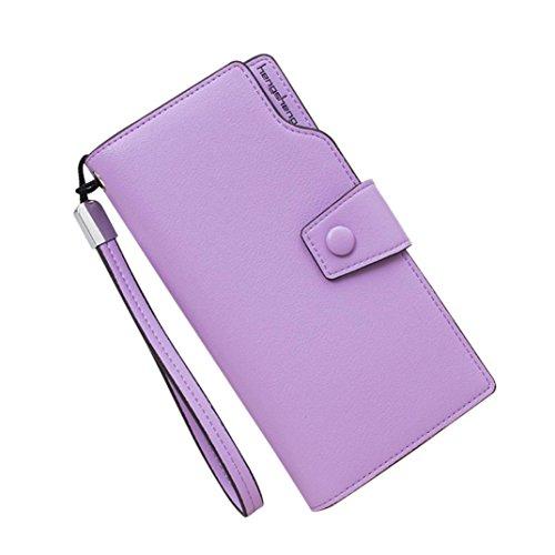 QMBER Geldbörsen Dame, Women es Fashion Pure Color Schnalle Multi-Card-Position Geldbörse Karte Tasche Leder lange Geldbörse Verbindungsband (lila) (Multi-schnalle Womens)