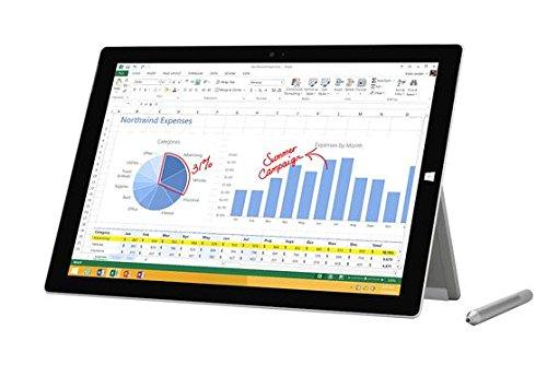 Microsoft Surface Pro3 30,4 cm (12 Zoll) Tablet-PC (Intel Core-i5 4300U, 1,5GHz, 4GB RAM, 128GB SSD, Win 8, Touchscreen) Silber