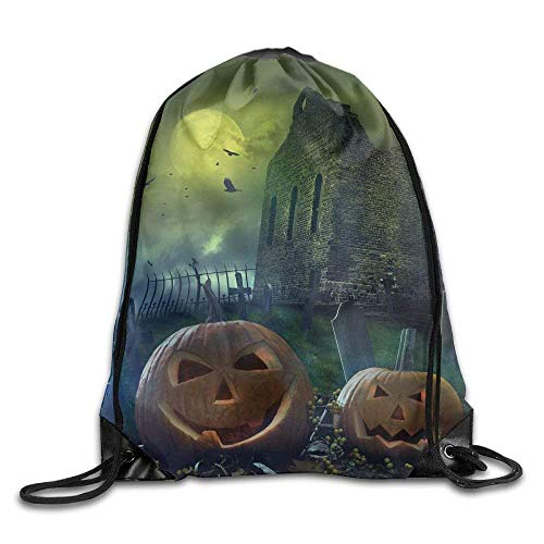 Setyserytu Sporttasche mit Kordelzug, Sportrucksack, Reiserucksack, Halloween Pumpkin In Spooky Graveyard In Old Stone Haunted House In Gloomy Dark Night Bags Camping Backpack (Graveyard Haunted Halloween)