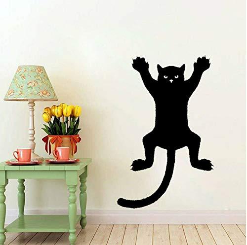 wmyzfs Lustige Katze an der Wand Silhouette Umriss Aufkleber Aufkleber Grafik PVC 31.6x50cm