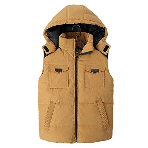 Zhuhaitf Mode Herren Winter Removable Hood Sleeveless Down Zipper Jacket Vest Yellow