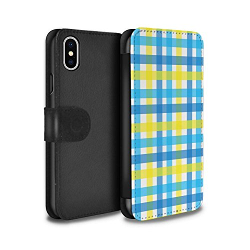 Stuff4 Coque/Etui/Housse Cuir PU Case/Cover pour Apple iPhone X/10 / Chaud Plage Rayures Design / Mode Jaune Collection Tisser/Vichy