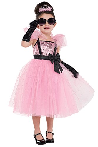 (Girls Tutu Glam Princess Retro Kostüm pink Hollywood Party Outfit 3-4 Anni schwarz)