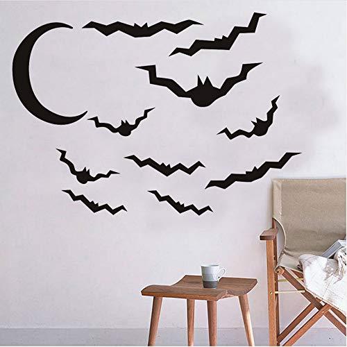 Qbbes 59 * 51 Cm Halloween Diy Wandaufkleber Fledermäuse Und Mond Halloween Dekoration Wanddekor Stick Auf Wandkunst Aufkleber Tapete Festival Dekoration