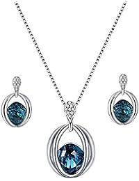 40bee05390b1 Scrox Collar Pendientes Cristal de Diamante Elegante Joyas de Mujer  Conjunto de Cristal Colgante Collar +