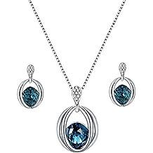 70ffdc0cb0e2 Scrox Collar Pendientes Cristal de Diamante Elegante Joyas de Mujer  Conjunto de Cristal Colgante Collar +