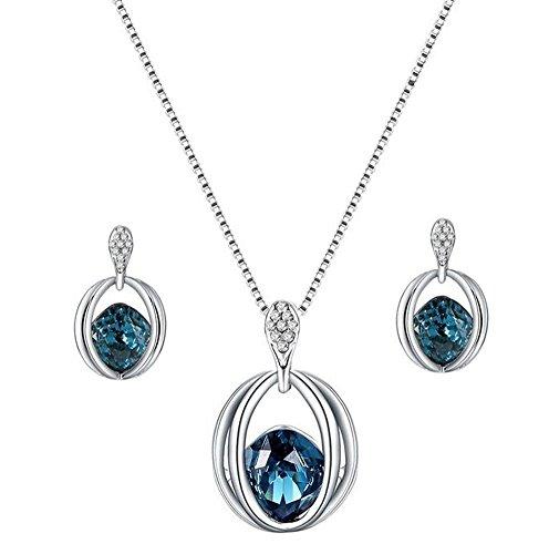 Scrox Collar Pendientes Cristal de Diamante Elegante Joyas de Mujer Conjunto de Cristal Colgante Collar + Pendientes,con un Bolso de joyería