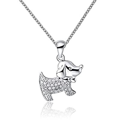 Isajewelry Lucky Dog Animal Pendant Necklace With Crystal Bowknot For Women Jewellery