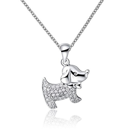 isajewelry Lucky Dog Animal Collar con Colgante con cristal lazo para mujer joyas