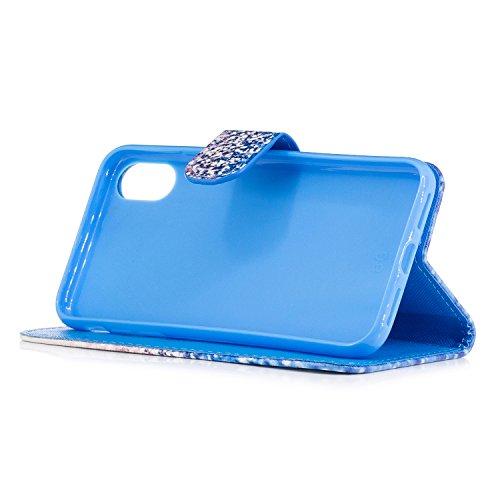 iPhone X Custodia, iPhone X Cover, JAWSEU Copertura in Pelle portafoglio Flip Case Cover per iPhone X Custodia Supporto di Stand Chiusura Magnetica e Porta carte di credito Custodia Cover per iPhone X Sabbia blu