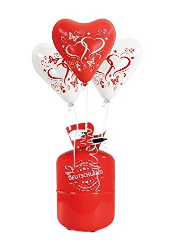 """100x Herzballons """"mit Herzen"""" rot/weiß Ø30cm + Helium Ballongas + PORTOFREI + 100x Ballonflugkarten + Geschenkkarte. High Quality Premium Ballons vom Luftballonprofi & deutschen Heliumballon Experten. Luftballon Deko zur Hochzeitsfeier und tolles Luftballon Geschenk zur Hochzeit"""