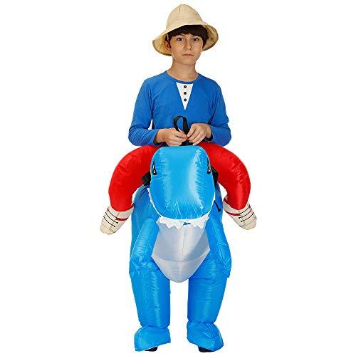 CBA BING Kind aufblasbare Dinosaurier Anzug, Dress Ride me kostüm Anzug für Halloween Party kostüm Party Cosplay (Dinosaurier tragen Mich),Blau (Ride Kinder Kostüm)