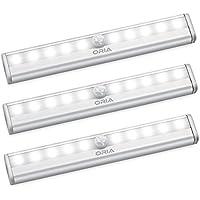 ORIA Schrankbeleuchtung Licht, 3er Pack Sensor Schrank Licht, Auto/On/Off Schranklampe mit 10 LED Beleuchtung und Magnetstreifen, für Garderobe &Nachttisch &Schuh Kabinett & Toilette& Korridor, etc - Weiße
