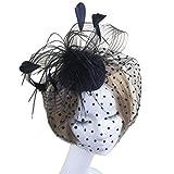 WINOMO Elegante Frauen Braut Hochzeit Feder Mesh Haarschmuck Fascinator Schleier Haarreif Haar Clip Cocktail Hut Derby Hut