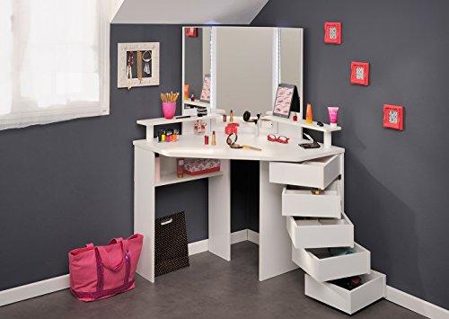 Eck-Schminktisch Mädchen Kinderzimmer Frisierkommode Kommode Schminkspiegel Make up Spiegel Kosmetiktisch Kosmetik Set Frisiertisch (Kinder Kommode Spiegel)
