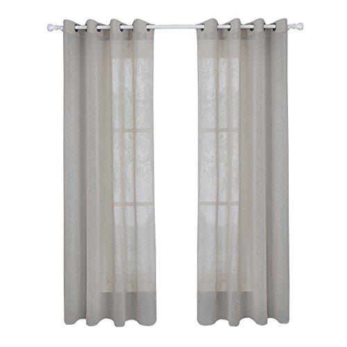 Lifemaison tende voile semitrasparente tinta unita di finto lino tenda con occhielli elegante per finestra soggiorno camera 1 pannello