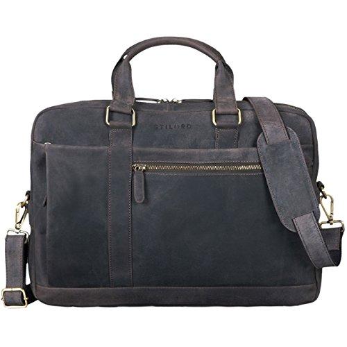 STILORD \'Nico\' Vintage Umhängetasche Leder Herren Damen 15,6 Zoll Laptoptasche groß Aktentasche Arbeit Büro Uni echtes Rindsleder, Farbe:dunkel - braun