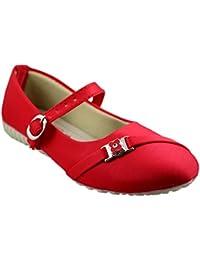 Leatherwood1 Girls Red Slip on Ballerinas