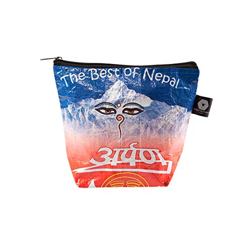 Shakti Milan Buddhas Eyes Kulturbeutel Upcycled Tasche recycled Reissack Kulturtasche Kosmetiktasche Reise Waschtasche