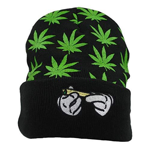 FGSS Rolling Hands Stickerei Weed Marihuana Beanie Mütze Skully (Grün)
