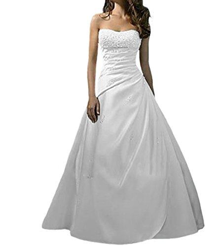 O.D.W Damen Lange Vintage Brautkleider Spitzen Hochzeitskleider(Weisse 2, 52)