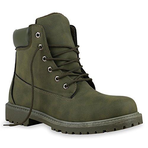 Gefüttert Herren Worker Boots Schnürstiefel Schuhe Profilsohle Dunkelgrün Grün
