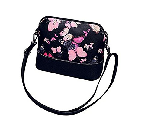 SPECOOL Umh?ngetasche, Blumenleder Schultertasche Satchel Retro Messenger Bag PU Leder Umh?ngetasche Butterfly