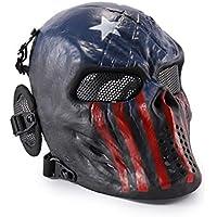 Wwman - Máscara táctica de cara completa para airsoft, paintball y juegos de guerra, diseño de calavera, equipo de protección, Captain